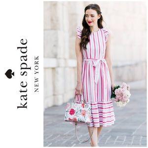 Kate Spade New York Peach Sherbert Midi Dress EUC